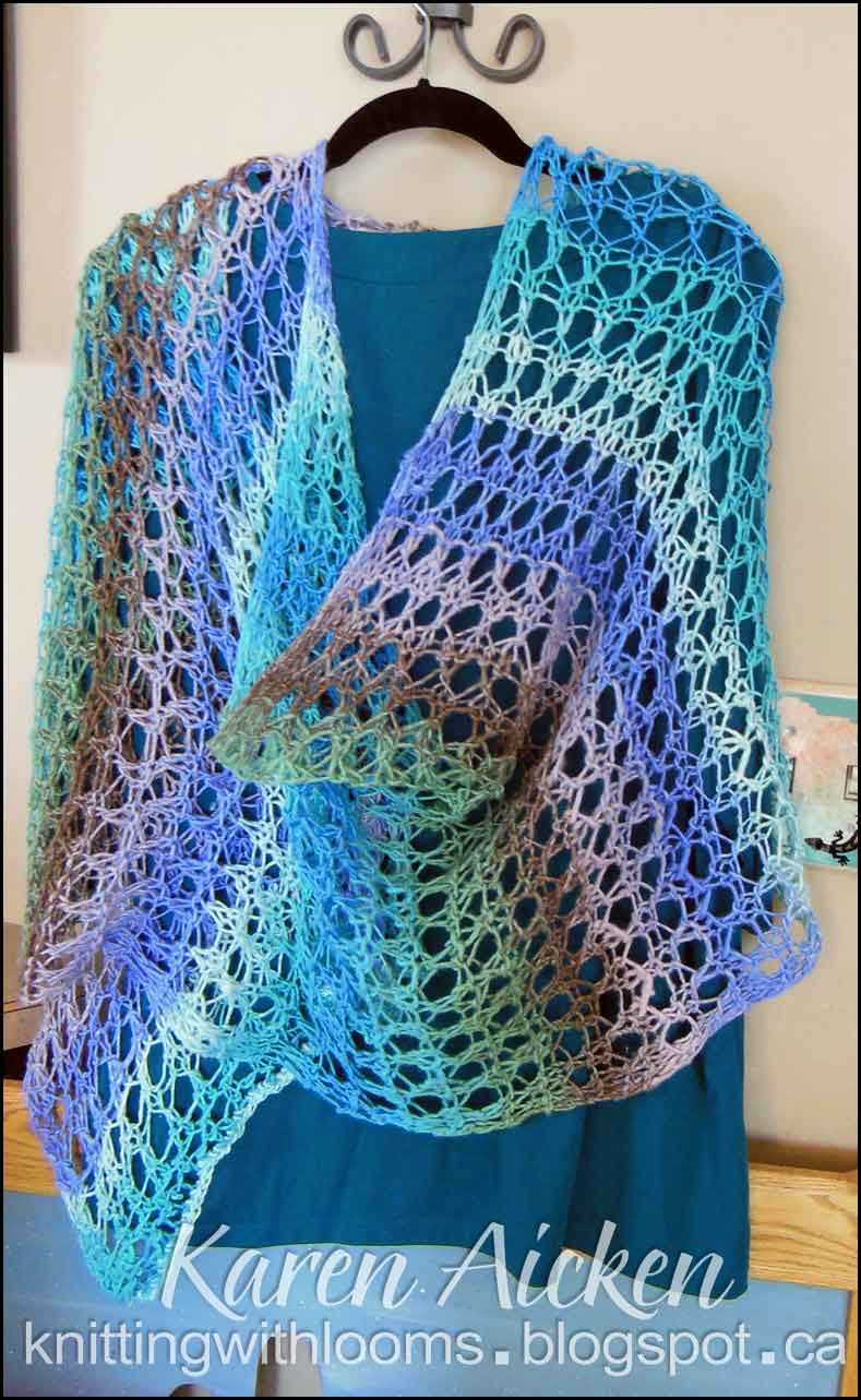 Lace Loom Knitting Patterns : Knitting With Looms: Finished Waves of Lace Shawl