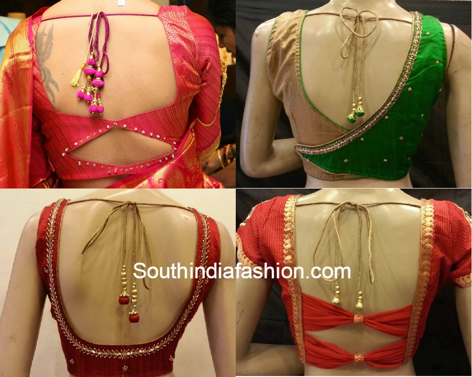 Simple saree blouse back neck designs
