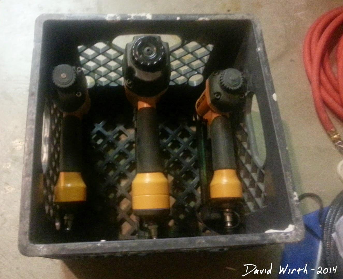 bostitch nail gun, milk crate, storage, protect