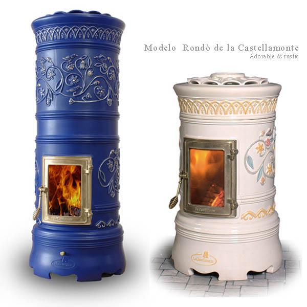 Estufas a leña cilíndricas azul y blanca  _Castellamonte _stove
