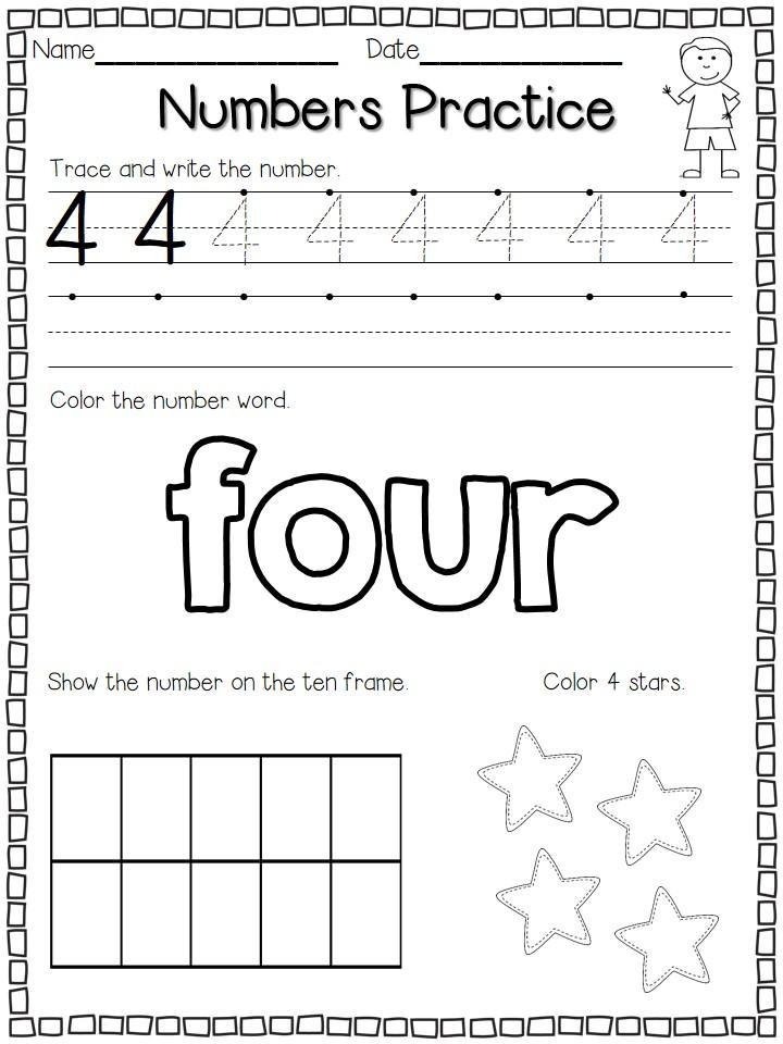 Number Practice Kindergarten