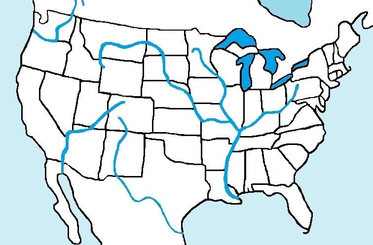US Rivers EnchantedLearningcom USA Major Rivers And Mountains