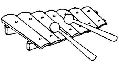 Xilofone instrumento musical em desenho para colorir