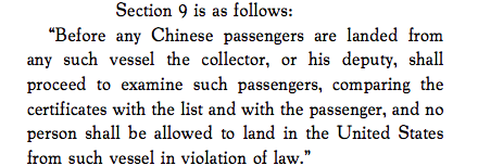 an examination of the chinese exclusion act Chinese exclusion act case files, 1900 - 1952  all persons of chinese  ancestry, whether a united states citizen or not, went through an examination  process.