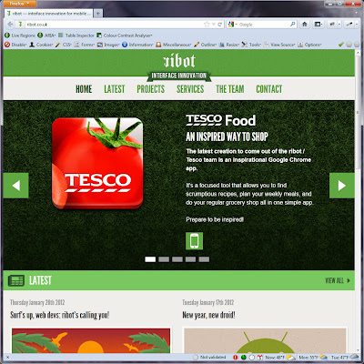 Screen shot of http://ribot.co.uk/.