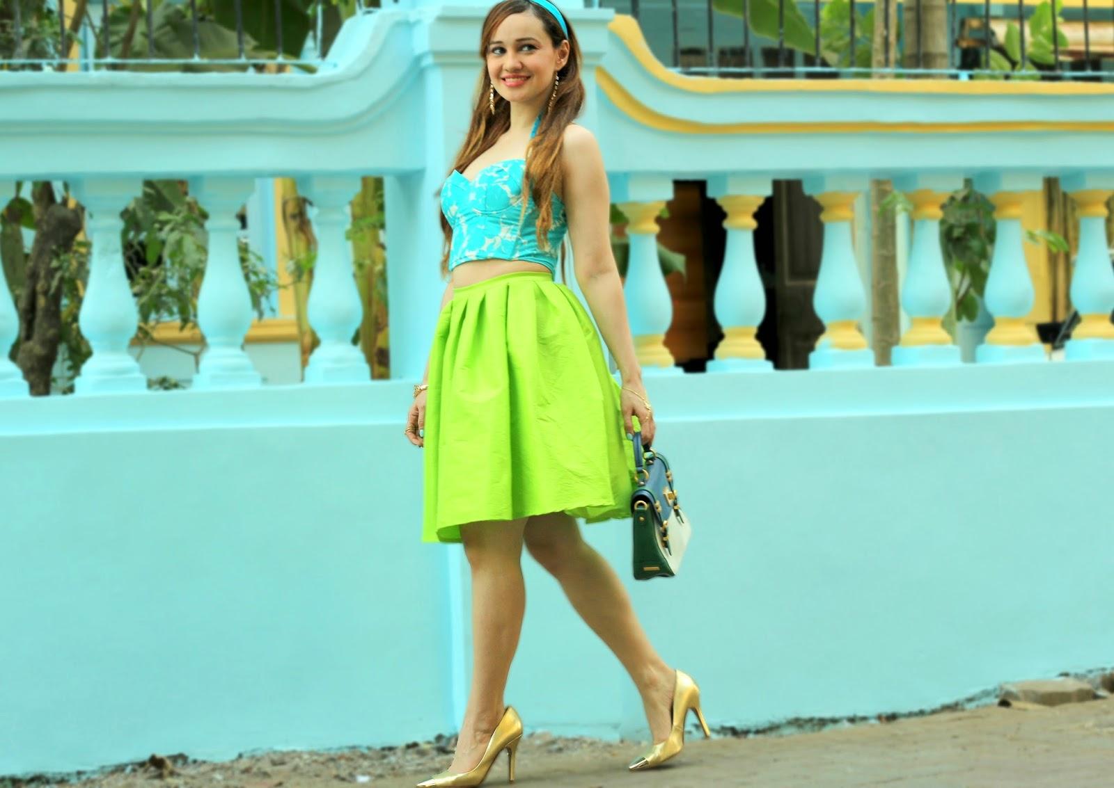 Koecsh Blue Roses Bustier & Green Flare Midi Skirt
