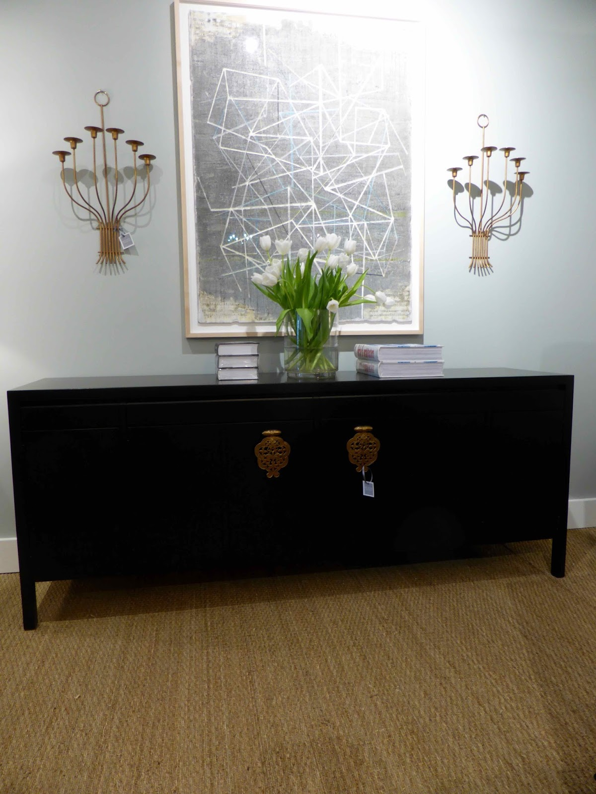 Designed By Bert England For Johnson Furniture, This Long, Ebonized Credenza  Features Four Drawers Over Center Doors With Large Brass Filigree Drop  Pulls ...