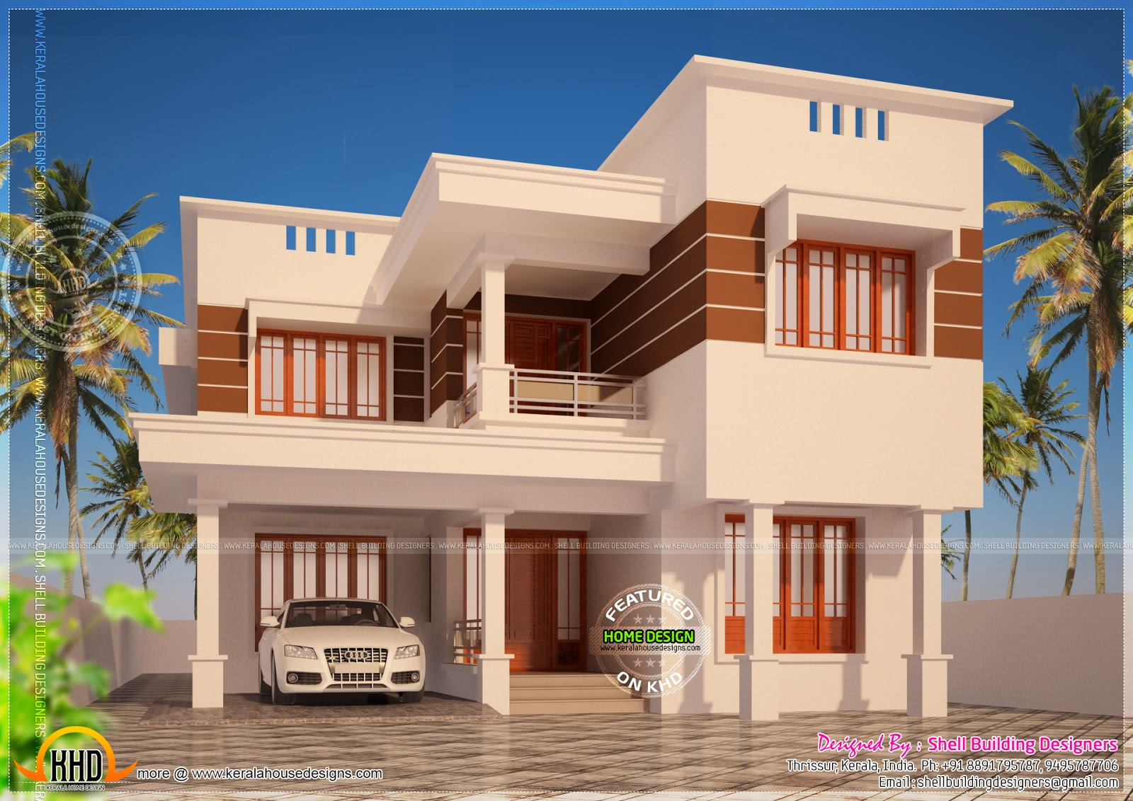 Modern flat roof house in 2925 square feet kerala home for Ground floor 3d elevation