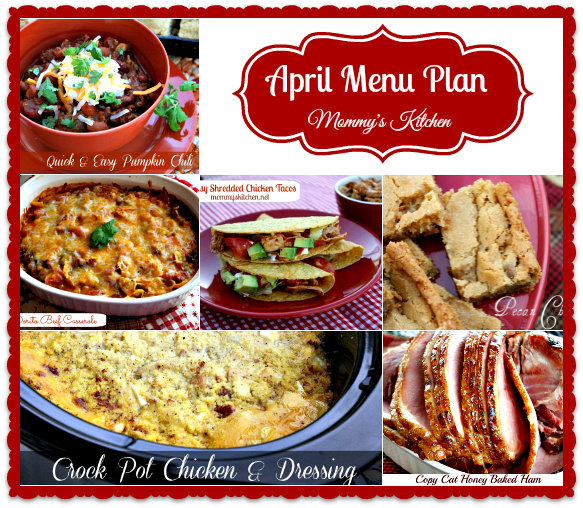 april menu - menu plan monthly