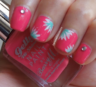 Barry M Grapefruit with rhinestones and simple nail art