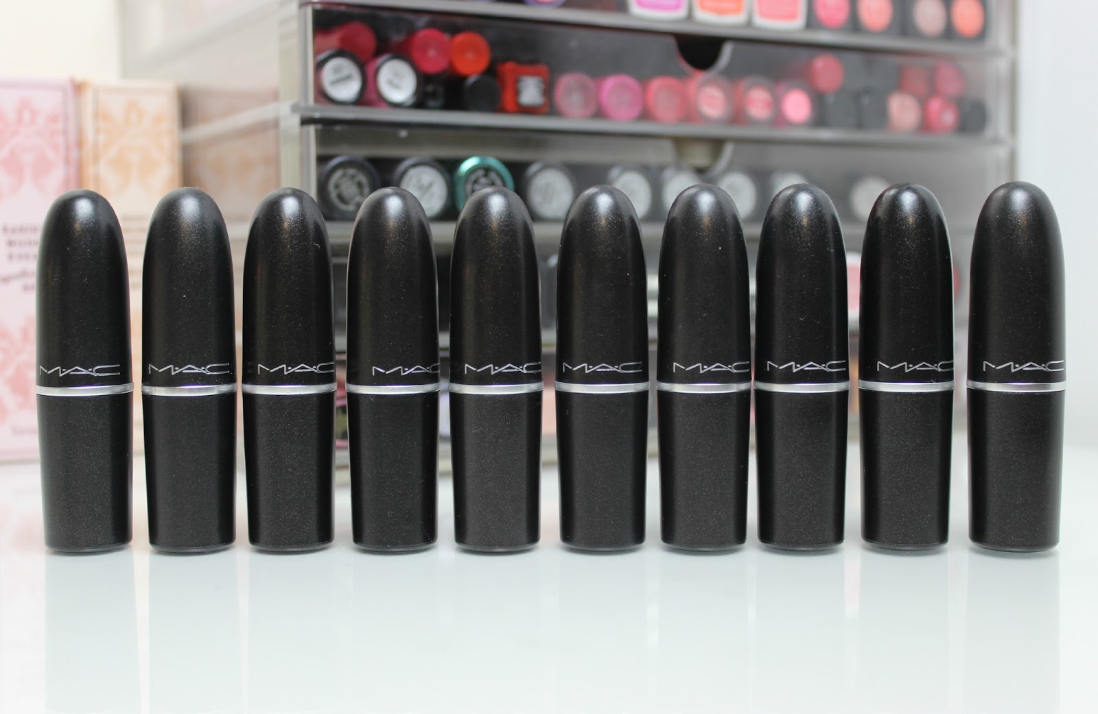 A picture of the top 10 MAC lipsticks