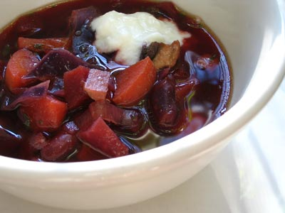 Beetroot Soup with Kidney Beans