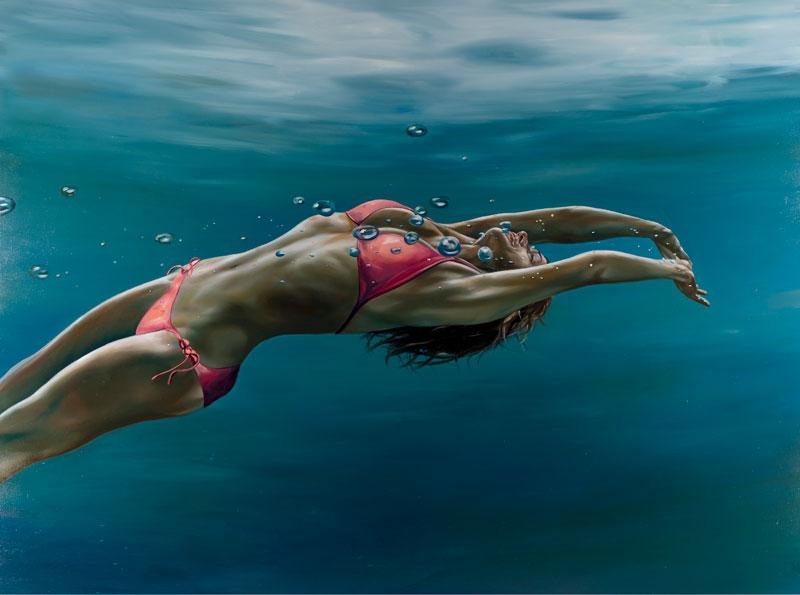Chicas en el Agua Pinturas Hiperrealistas