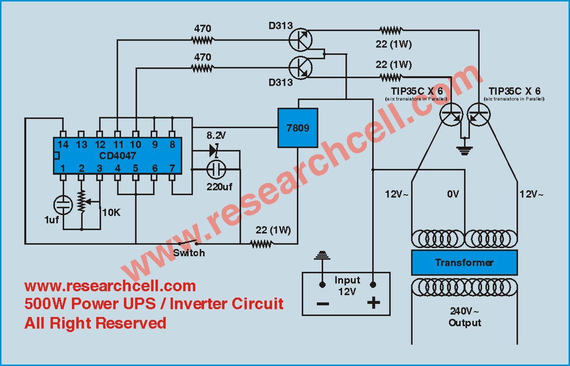 Circuit Diagram  500w 12v To 230v Inverter Circuit Diagram
