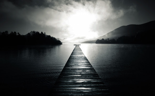 Long Wood Pier Mountains Black and White Photo HD Wallpaper