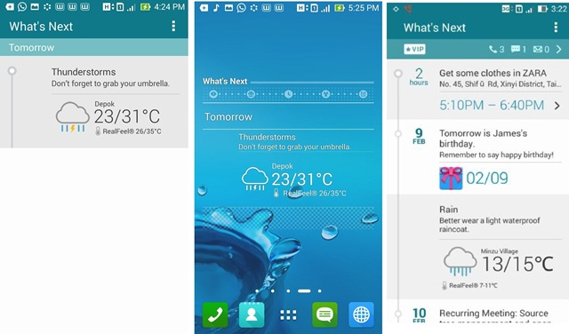 Fitur What's Next pada Zenfone dengan interface ZenUI