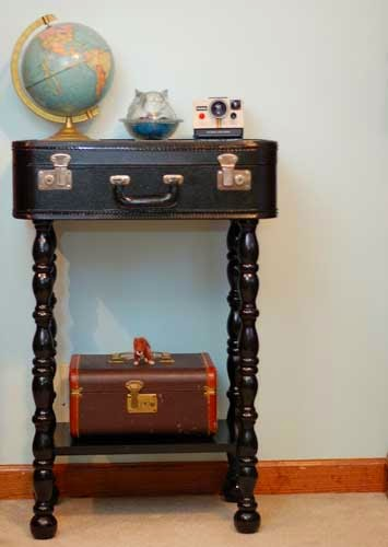 old suitcase end table