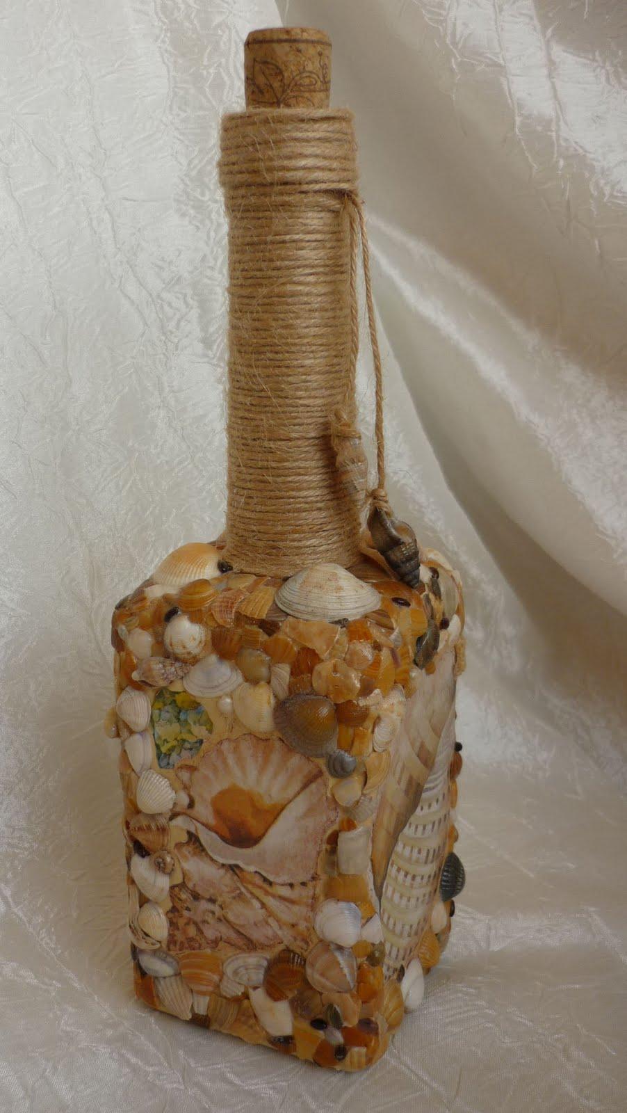 Как украсить бутылку ракушками своими руками 32