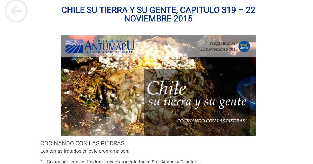Radio U de Chile. Nuestra Tierra nuestra Gente. Min 19