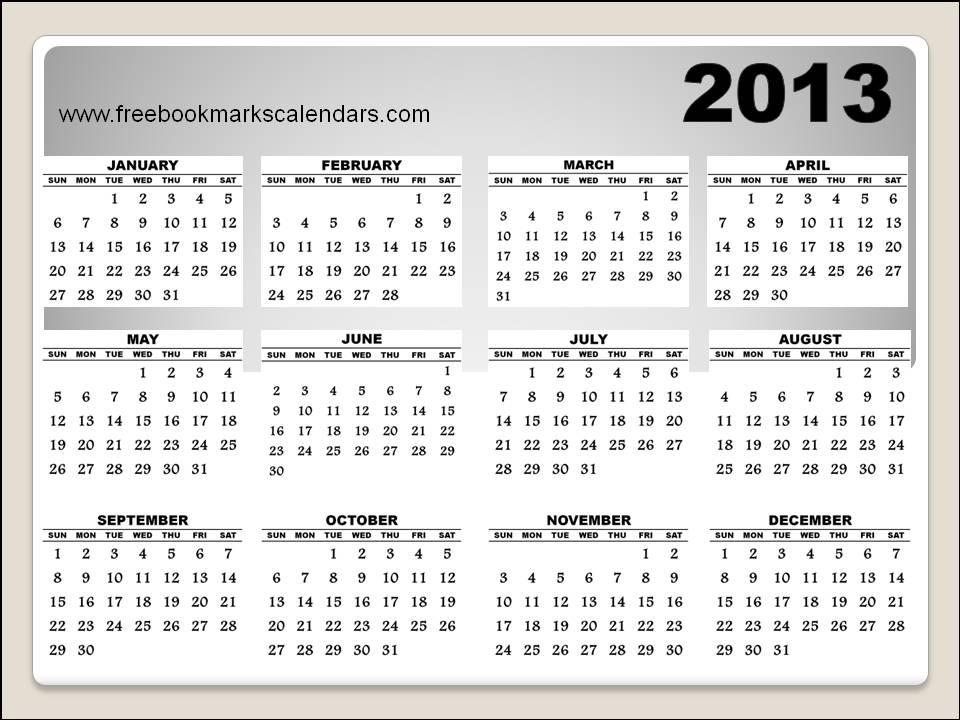 2013 Yearly Printable Calendar Horizontal