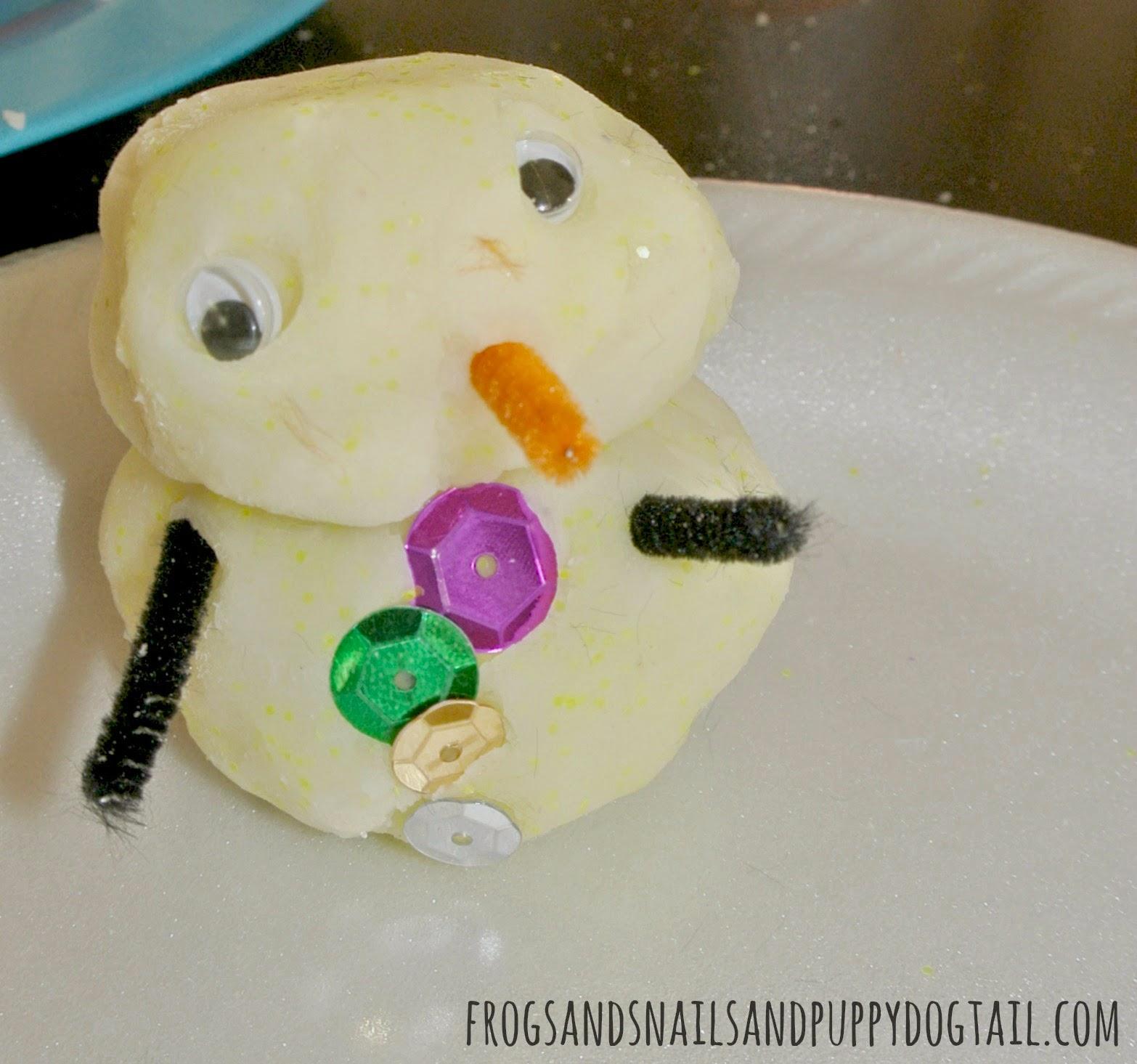 Snowmen from White Glitter Playdough