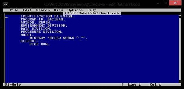 Cara Membuat Program Sederhana Hello World Dengan Cobol Program Sederhana Hello World Dengan Cobol