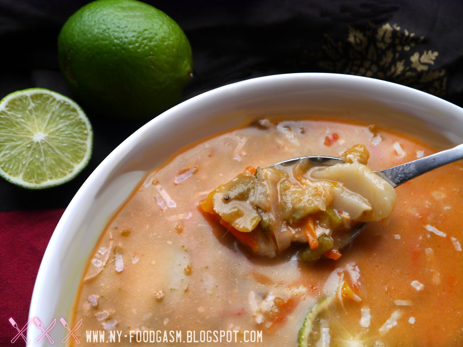 NY FoodGasm: Spicy Red Curry Coconut Chicken Soup
