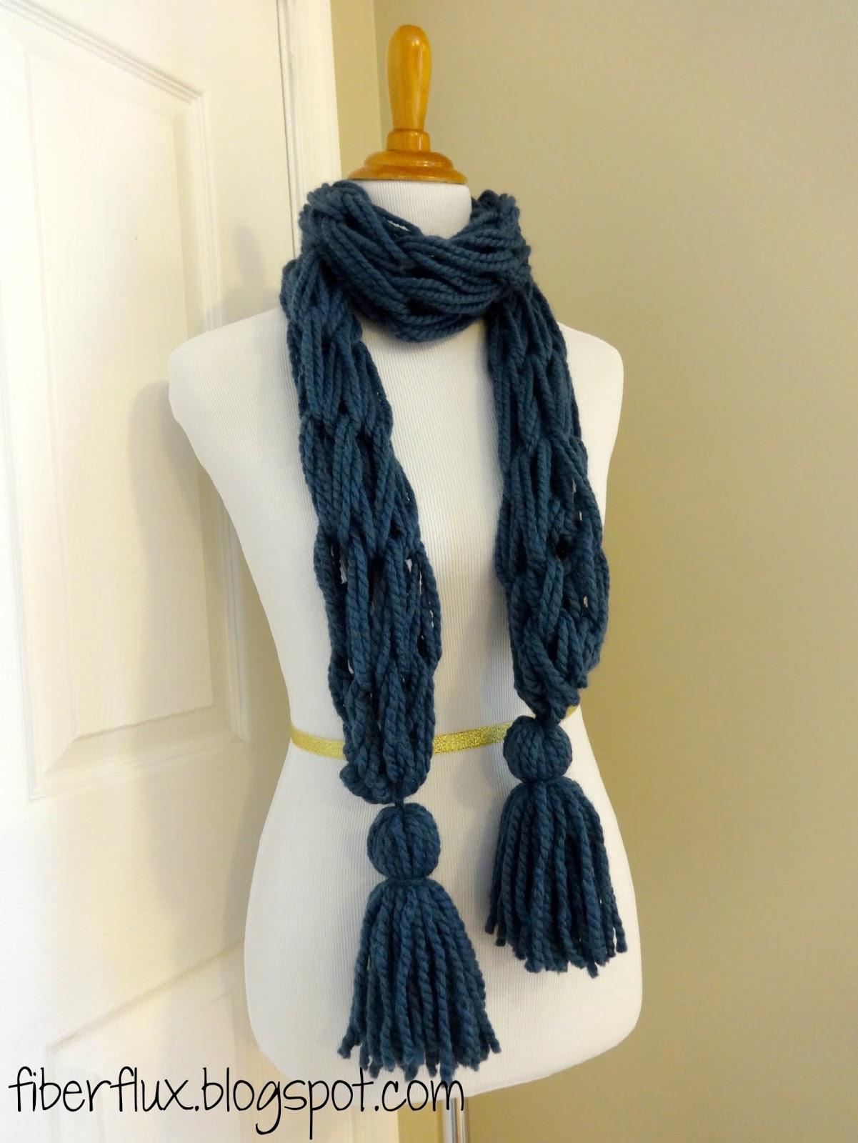 Arm Knitting Scarf Patterns : Fiber Flux: Free Knitting Pattern...Arm Knit Tassel Scarf!