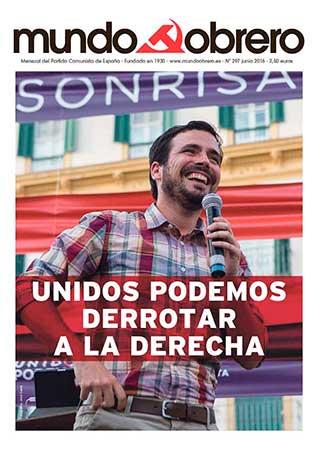 Portada nueva edición de Mundo Obrero, nº 297 (junio 2016). Difúndela: