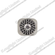 Iphone 5G silver metal plate with black diamond design home button