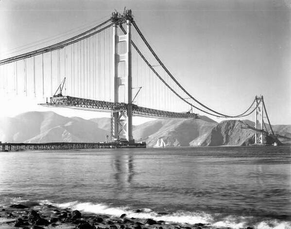64 Historical Pictures you most likely haven't seen before. # 8 is a bit disturbing! - Golden Gate under construction, San Francisco. 1937