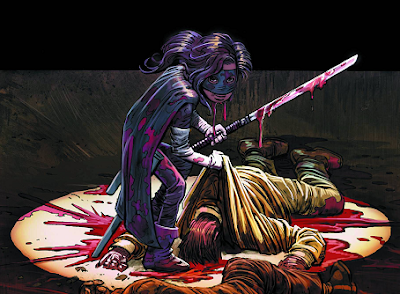 Hit-Girl surrounded by blood