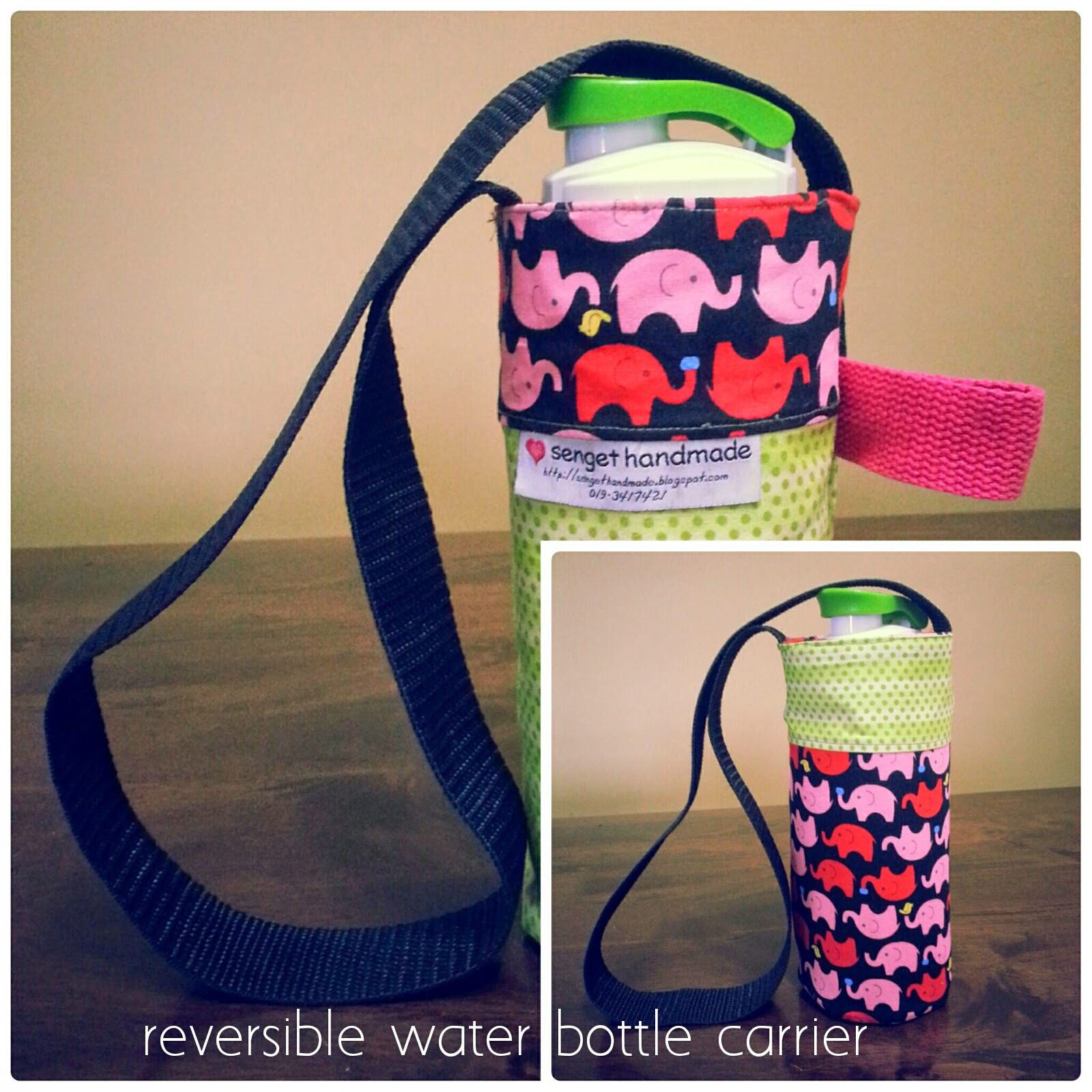 reversible  water bottle carrier; senget handmade