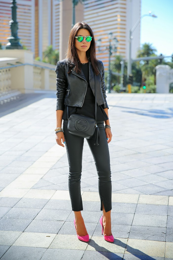 Black Tank + Black Leather Pants + Pink Heels