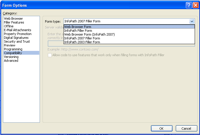 conversion from info path 2007 to info path 2010 browser enabled form