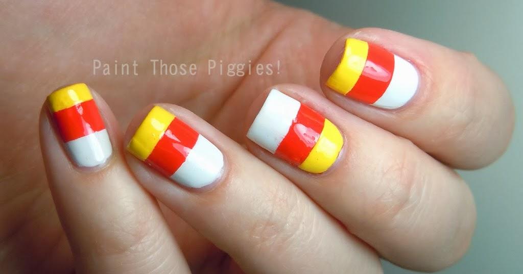 Paint Those Piggies Candy Corn Striped Mani