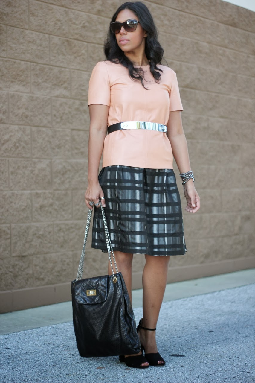 leather top tee plaid dress skirt spike heel zara shoes chanel sunglasses bag purse accessories