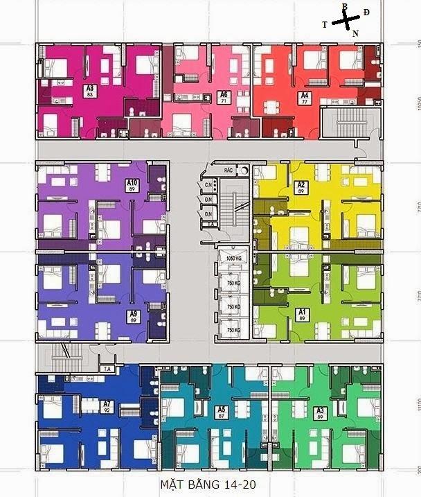 mặt bằng tầng 14-20 chung cư 283 khương trung bộ công an
