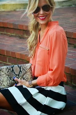 Coral and striped skirt