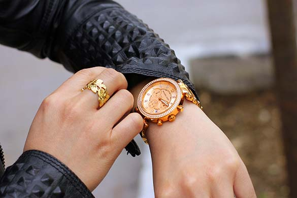 Michael Kors Parker Glitz Chronograph Watch Rose Gold
