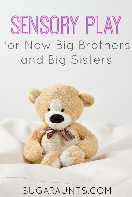 Sensory play for siblings of new babies.  This is a great way to introduce new big brothers and big sisters to a new baby.