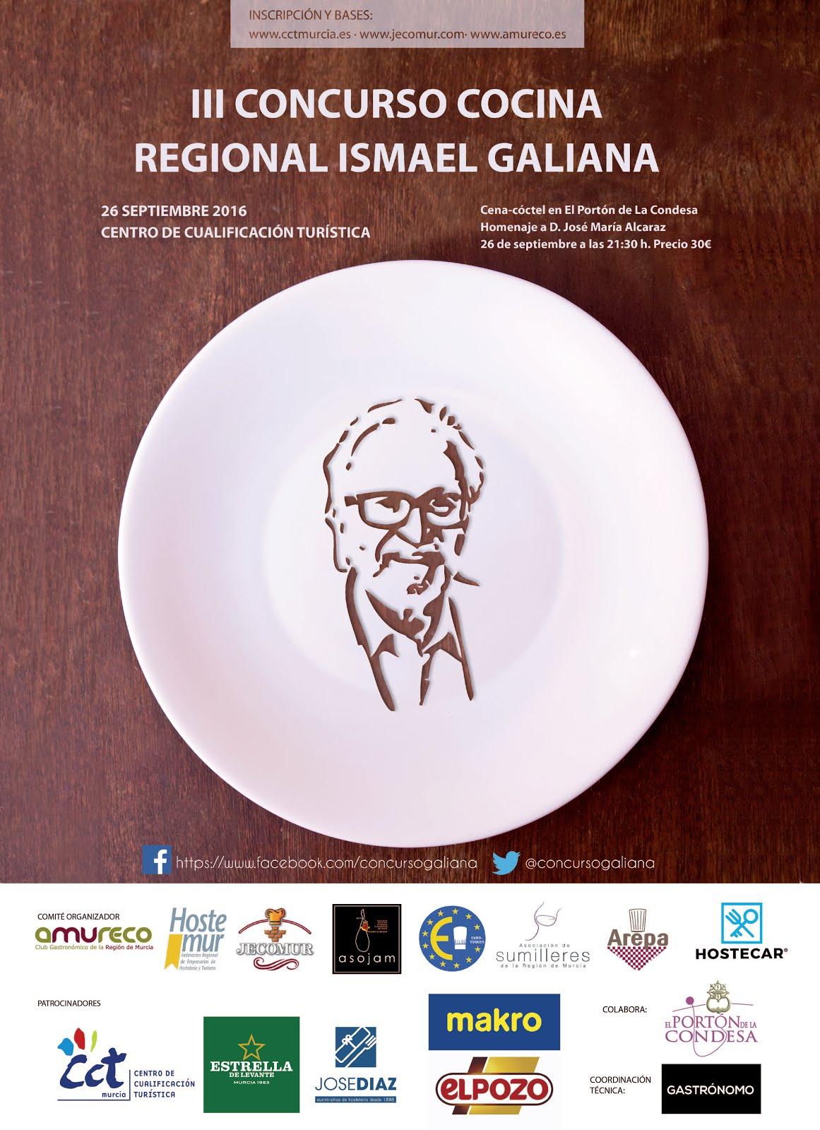 """III Concurso de Cocina Regional """"Ismael Galiana"""" y Cena-Cóctel Homenaje a D. José María Alcaraz"""