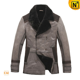 Men Leather Trench Coat