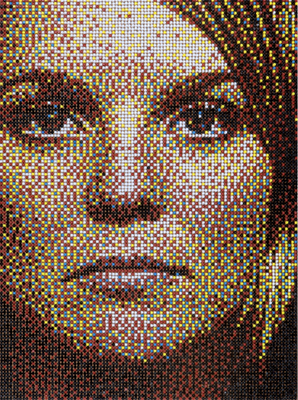 Creates a Self Portrait with Thousands of Plastic Bottle Cap Seen On www.coolpicturegallery.us