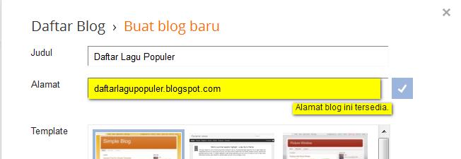 Langkah Ke Tiga Membuat Alamat Blog