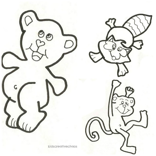Trace Cute Animals to Learn to Draw or use as Free Printable Coloring Sheet