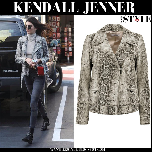 Kendall Jenner in python leather biker jacket what she wore streetstyle