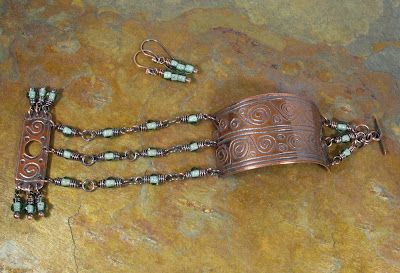Beaded Etched Copper Cuff by Libellula Jewelry