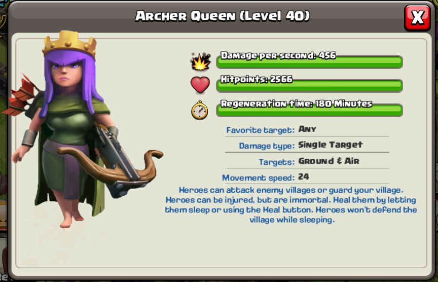 Clash of Clans Archer Queen Levels