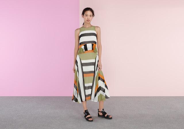green orange black stripe dress